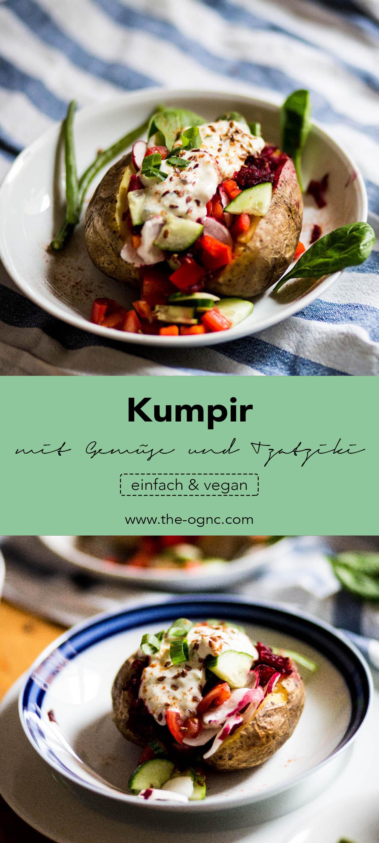 einfaches Kumpir mit Gemüse und Tzatziki