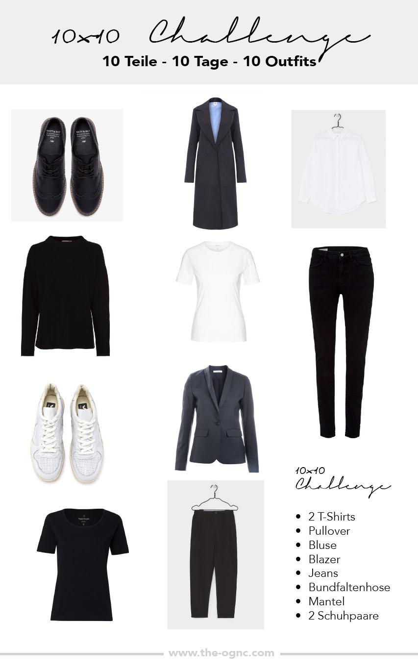 10x10 Challenge, Minimalismus im Kleiderschrank, 10 Teile, 10 Tage, 10 Outfits