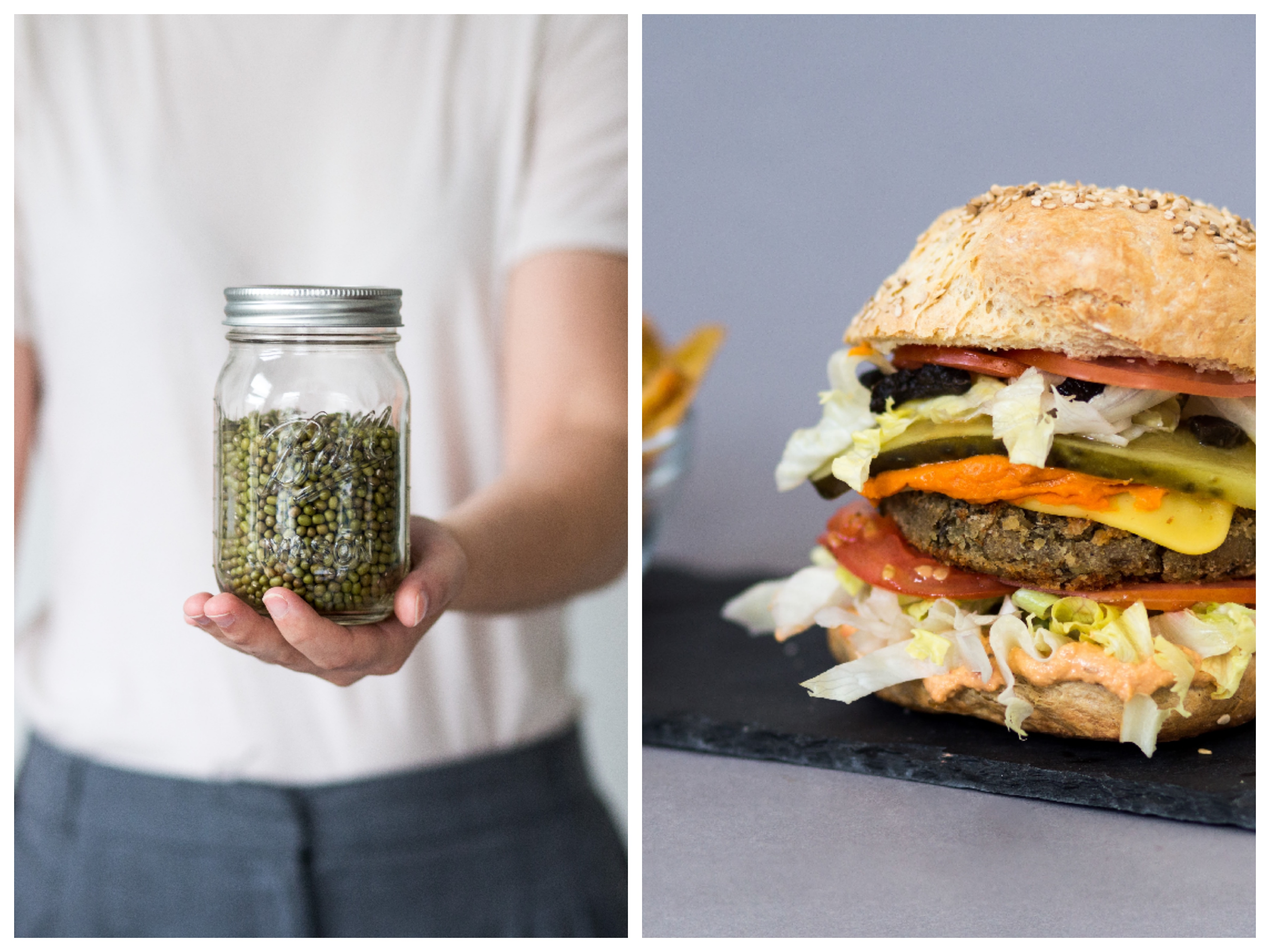 Mungobohnen Burger aus Lebensmittelvorräten